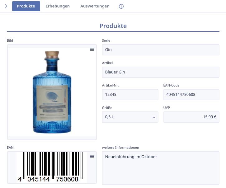 Ninox SalesDesk Produktkatalog Produktansicht 1
